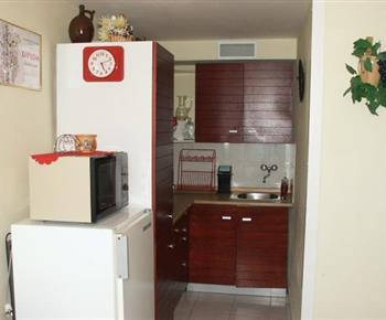 Kuchyňský kout s vařičem, ledničkou, mikrovlnou troubou a varnou konvicí