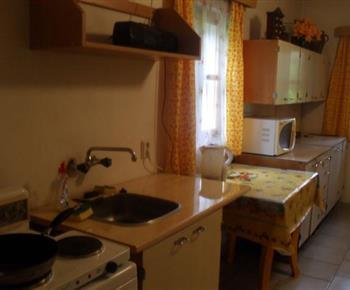 Kuchyně s vařičem, varnou konvicí a mikrovlnou troubou