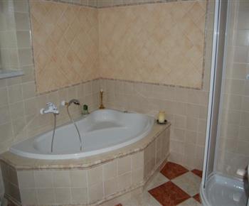Koupelna se sprchovým koutem, masážní vanou, umývadlem a toaletou