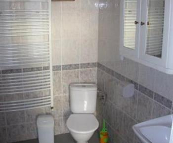 Koupelna s vanou, umývadlem, toaletou a pračkou