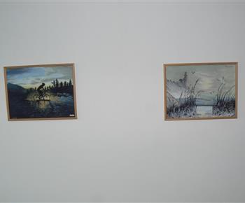 Obrazy v podkrovní ložnici