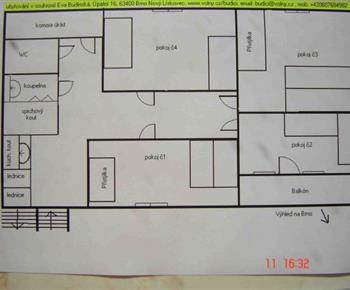Půdorys pokojů se sdíleným soc.zařízením