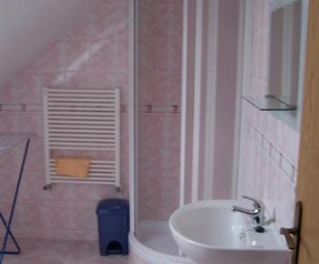 Růžový apartmán se sprchovým koutem, umývadlem a toaletou