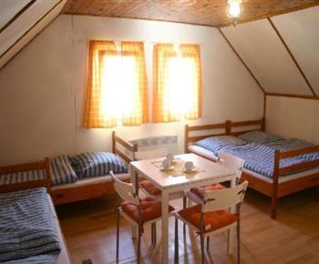 Pokoj s lůžky, stolkem, židlemi, ledničkou a varnou konvicí