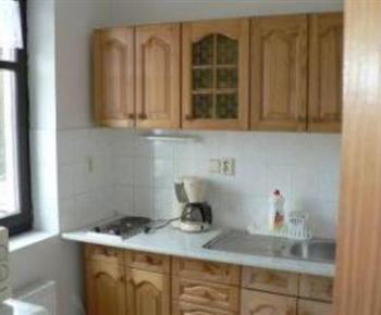 Kuchyňka s vařičem, ledničkou, mikrovlnou troubou a kávovarem