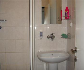 Koupelna se sprchovým koutem a umývadlem