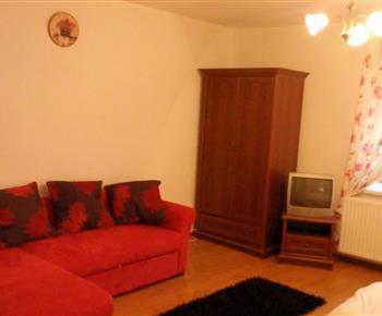 Apartmán s pohovkou a televizí