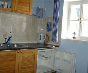 Kuchyně s linkou, elektrickým vařičem, lednicí, mikrovlnou troubou a rzchlovarnou konvicí