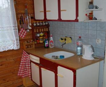 Kuchyně s linkou, lednicí, sporákem, mikrovlnnou troubou a rychlovarnou konvicí