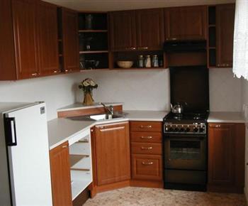 Kuchyně s linkou, lednicí, sporákem, myčkou, mikrovlnou troubou a rychlovarnou konvicí