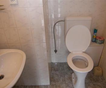 Samostatná toaleta s umývadlem  v  patře