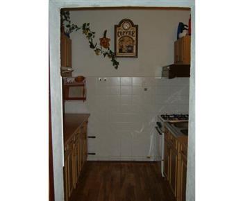 Kuchyně s linkou, sporákem, lednicí a mikrovlnou troubou