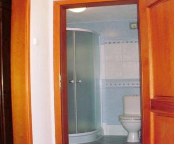 Apartmán s výhledem na zahradu - Koupelna  se sprchou, WC a umyvadlem
