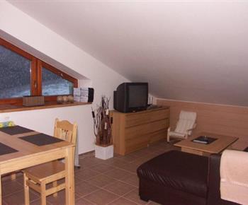 Obývací pokoj s rozkládací sedačkou a televizí