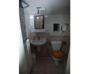 Pohled na sociální zařízení s toaletou, umyvadlem a zrcadlem
