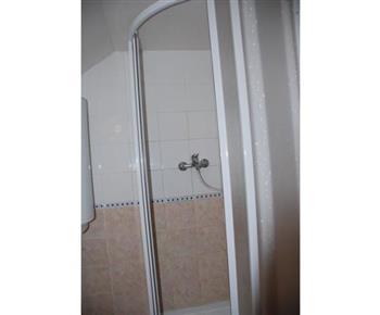 Pohled na sociální zařízení se sprchou