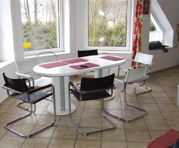 Jídelní stůl v obývacím pokoji s kuchyňkou