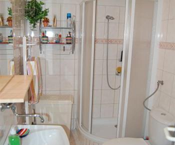 Pohled na sociální zařízení se sprchovým  koutem, umyvadlem a toaletou