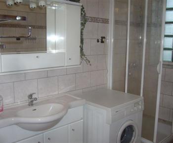 Koupelna se sprchovacím koutem, pračkou a umyvadlem