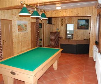 Obývací místnost s kulečníkem