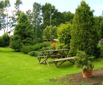 Venkovní posezení na velmi pěkně upravené zahradě