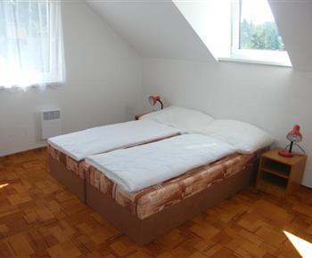 Ložnice s lůžky, nončními stolky a lampičkami v patře