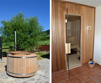 Koupací sud a sauna pro chvíle relaxace