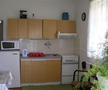 Kuchyně s linkou, lenicí, sporákem, mikrovlnou troubou a rychlovarnou konvicí