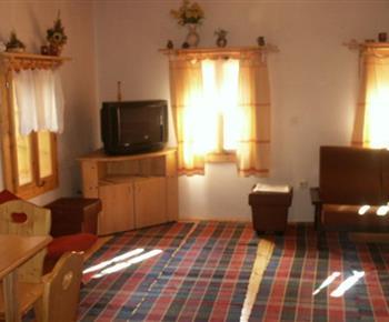 Společenská místnost s pohovkou, stolkem a televizí