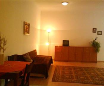 Obývací pokoj s pohovkou a televizorem