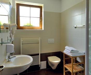 Koupelna se sprchovým koutem, fenom, toaletou a umývadlem