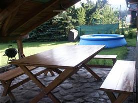 Krytá terasa s posezením a bazénem