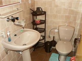 Samostatná toaleta s umývadlem a zrcadlem