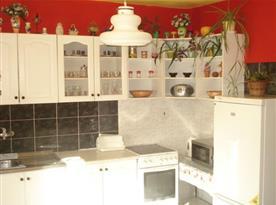 Kuchyně s linkou, sporákem, lednicí a mikrovlnnou troubou